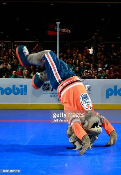 Hunter of the Edmonton Oilers participates in the 2019 NHL AllStar Mascot Showdown on January 24 2019 in San Jose California