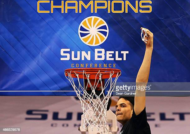 J Hunter of the Georgia State Panthers celebrates after his team defeated the Georgia Southern Eagles during the Sun Belt Conference Men's...