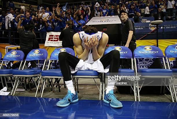 J Hunter of the Georgia State Panthers is overcome with joy after his defeated the Georgia Southern Eagles during the Sun Belt Conference Men's...