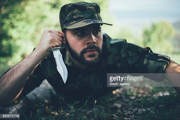 hunter on the ground - infantería stock pictures, royalty-free photos & images