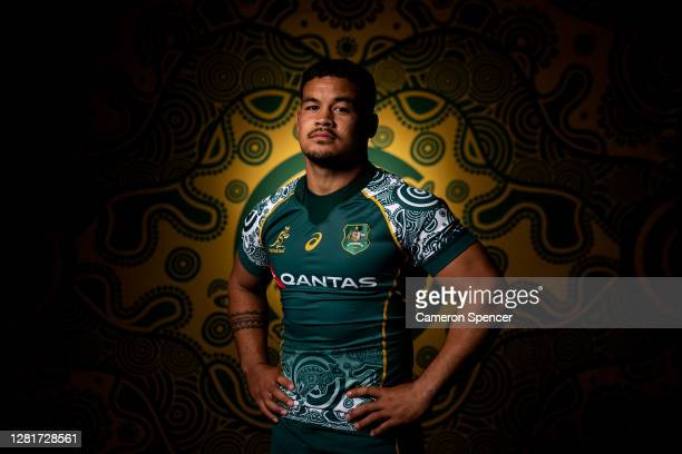Hunter Paisami of the Wallabies poses during the Australian Wallabies 2020 First Nations Jersey portrait session on October 22 2020 in the Hunter...