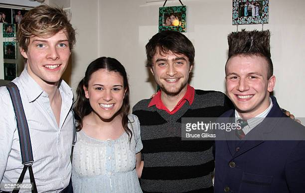 Hunter Parrish Alexandra Socha Daniel Radcliffe and Gerard Canonico pose backstage at Spring Awakening on Broadway at The Eugene O'Neill Theater on...