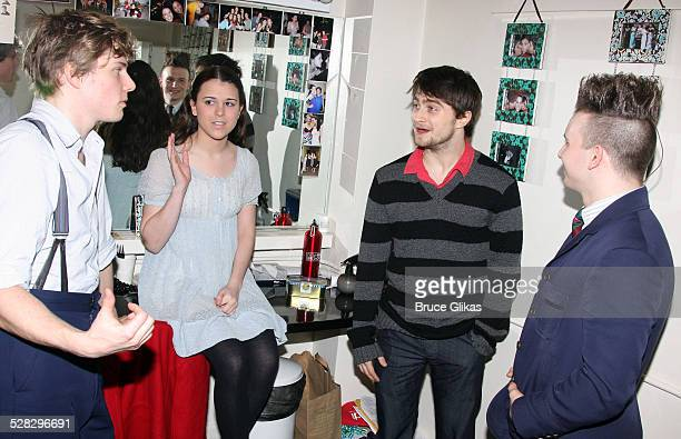 Hunter Parrish Alexandra Socha Daniel Radcliffe and Gerard Canonico backstage at Spring Awakening on Broadway at The Eugene O'Neill Theater on...