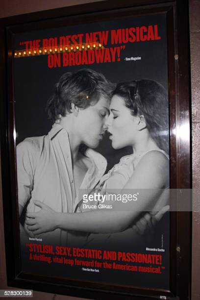 Hunter Parrish and Alexandra Socha appear in the Spring Awakening poster promoting the show on Broadway at The Eugene O'Neill Theater on August 18...