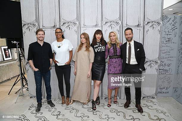 Hunter Parrish Joy Bryant Genevieve Angelson Erin Darke Anna Camp and Chris Diamantopoulos attend the Build Series at AOL HQ on October 20 2016 in...