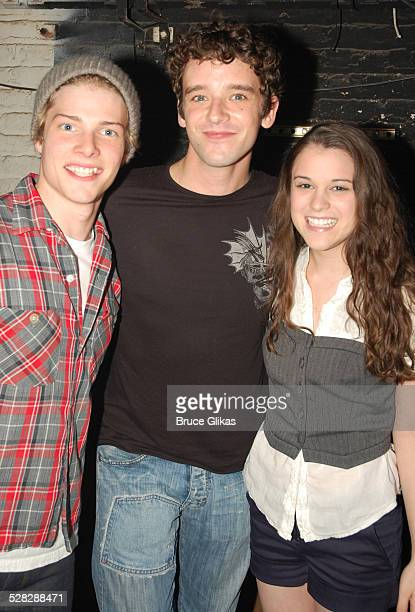 Hunter Parrish Michael Urie and Alexandra Socha pose backstage at Spring Awakening on Broadway at The Eugene O'Neill Theater on September 13 2008 in...