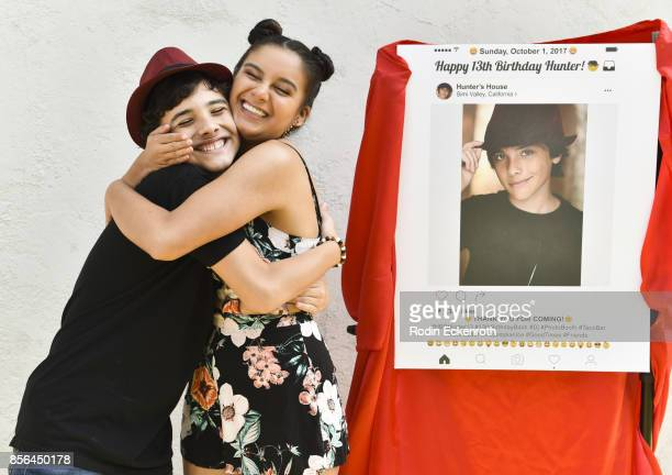 Hunter Payton and Amber Romero attend Hunter Payton's 13th Birthday Party at Private Residence on October 1 2017 in Simi Valley California