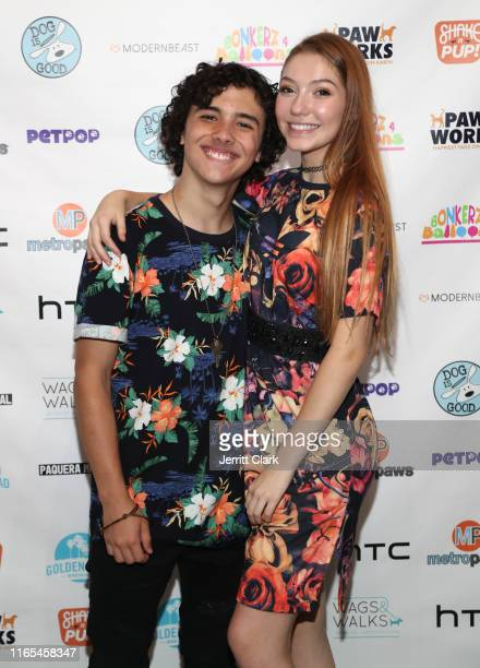 Hunter Payton and Jamie Timmons attend DJ Lela B Birthday And LipSynk Cosmetics Launch At PetPOP at PetPOP on July 31 2019 in Los Angeles California
