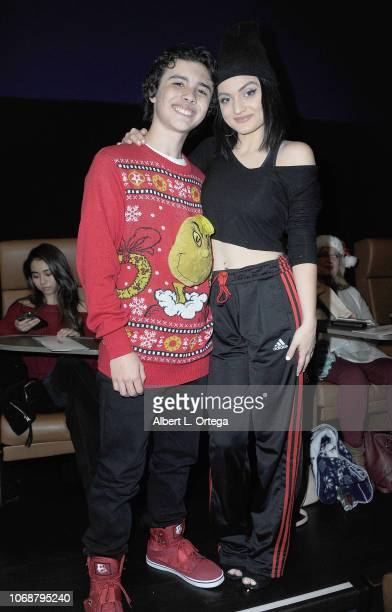 Hunter Payton and Laci Kay attend Hunter Payton And The Shoe Crew Holiday Charity Fundraiser Screening of Illumination's 'The Grinch' Benefiting The...