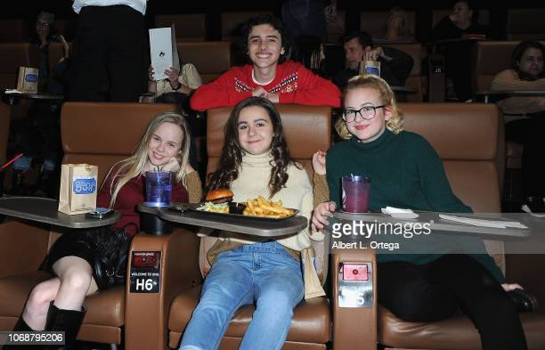 Hunter Payton Averi White Ava Bianchi and Phoebe Keough attend Hunter Payton And The Shoe Crew Holiday Charity Fundraiser Screening of Illumination's...