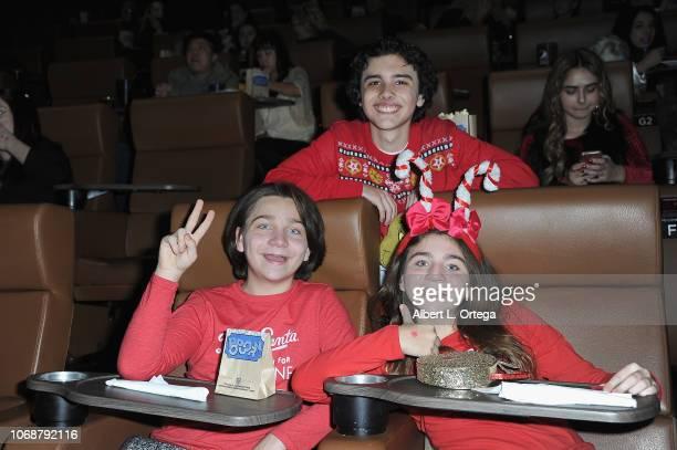 Hunter Payton Bryson Robinson and Brooklyn Robinson attend Hunter Payton And The Shoe Crew Holiday Charity Fundraiser Screening of Illumination's...