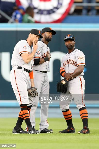 Hunter Pence Austin Jackson and Andrew McCutchen of the San Francisco Giants strike a pose after winning the game against the San Francisco Giants at...