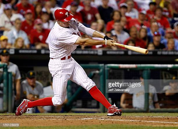 Hunter Pence of the Philadelphia Phillies hits an RBI single during a game against the Pittsburgh Pirates at Citizens Bank Park on July 30 2011 in...