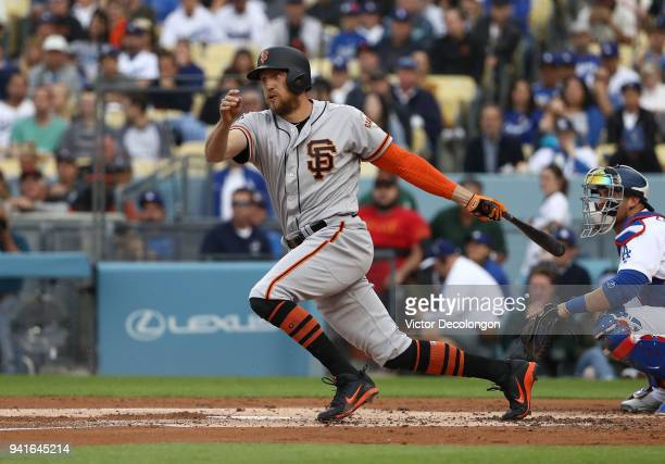 Hunter Pence of the San Francisco Giants bats during the second inning of the MLB game against the Los Angeles Dodgers at Dodger Stadium on April 1...