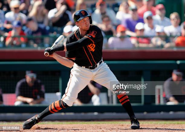 Hunter Pence of the San Francisco Giants bats in the fifth inning against the Cleveland Indians during the spring training game at Scottsdale Stadium...