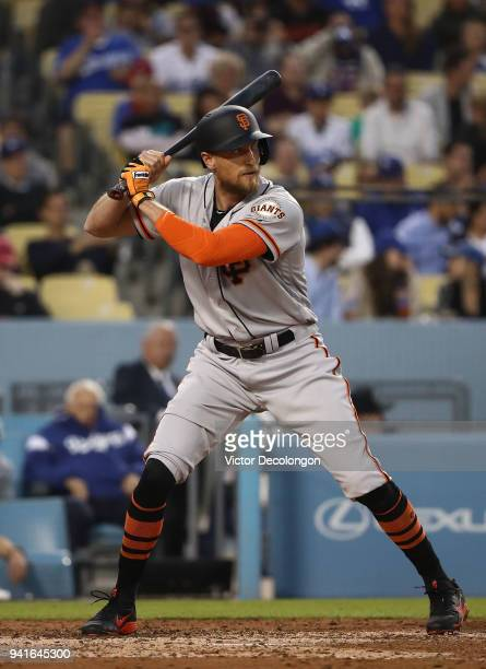 Hunter Pence of the San Francisco Giants bats in the sixth inning during the MLB game against the Los Angeles Dodgers at Dodger Stadium on April 1...