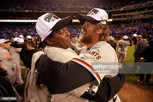 Hunter Pence of the San Francisco Giants celebrates on the field after defeating the the Kansas City Royals 32 to win Game Seven of the 2014 World...