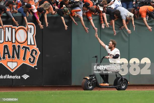 Hunter Pence of the San Francisco Giants greets fans following their 150 loss to the Los Angeles Dodgers during their MLB game at ATT Park on...