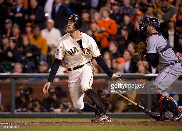 Hunter Pence of the San Francisco Giants hits a sacrifice fly to make the score 20 in the bottom of the eighth inning of Game 2 of the 2012 World...