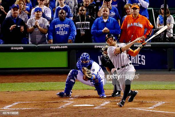 Hunter Pence of the San Francisco Giants hits a two run home run in the first inning against the Kansas City Royals during Game One of the 2014 World...