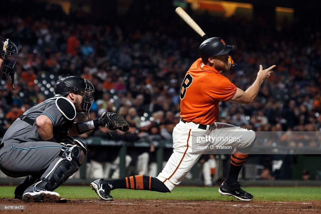 Hunter Pence #8 of the San Francisco Giants hits an RBI double against the Arizona Diamondbacks during the first inning at AT&T Park on September 15, 2017 in San Francisco, California.