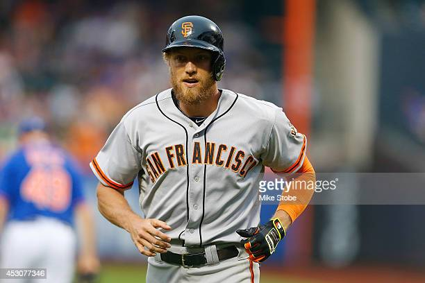Hunter Pence of the San Francisco Giants in action against the New York Mets at Citi Field on August 1, 2014 in the Flushing neighborhood of the...