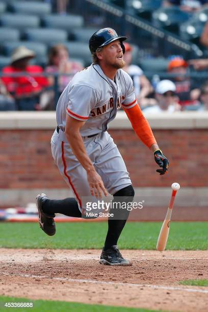 Hunter Pence of the San Francisco Giants in action against the New York Mets at Citi Field on August 4, 2014 in the Flushing neighborhood of the...