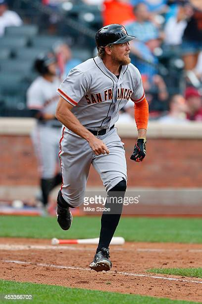 Hunter Pence of the San Francisco Giants in action against the New York Mets at Citi Field on August 4 2014 in the Flushing neighborhood of the...