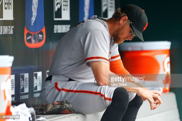 Hunter Pence of the San Francisco Giants looks on against the New York Mets at Citi Field on August 4 2014 in the Flushing neighborhood of the Queens...