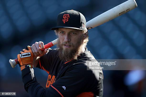 Hunter Pence of the San Francisco Giants looks on during batting practice prior to Game 3 of NLDS against the Chicago Cubs at ATT Park on Monday...