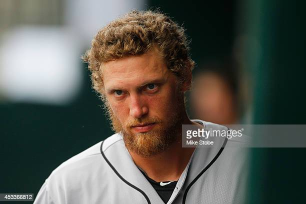 Hunter Pence of the San Francisco Giants looks on from the bench against the New York Mets at Citi Field on August 4 2014 in the Flushing...