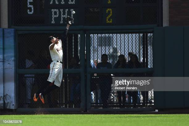 Hunter Pence of the San Francisco Giants makes a catch in right field against the Los Angeles Dodgers during their MLB game at ATT Park on September...