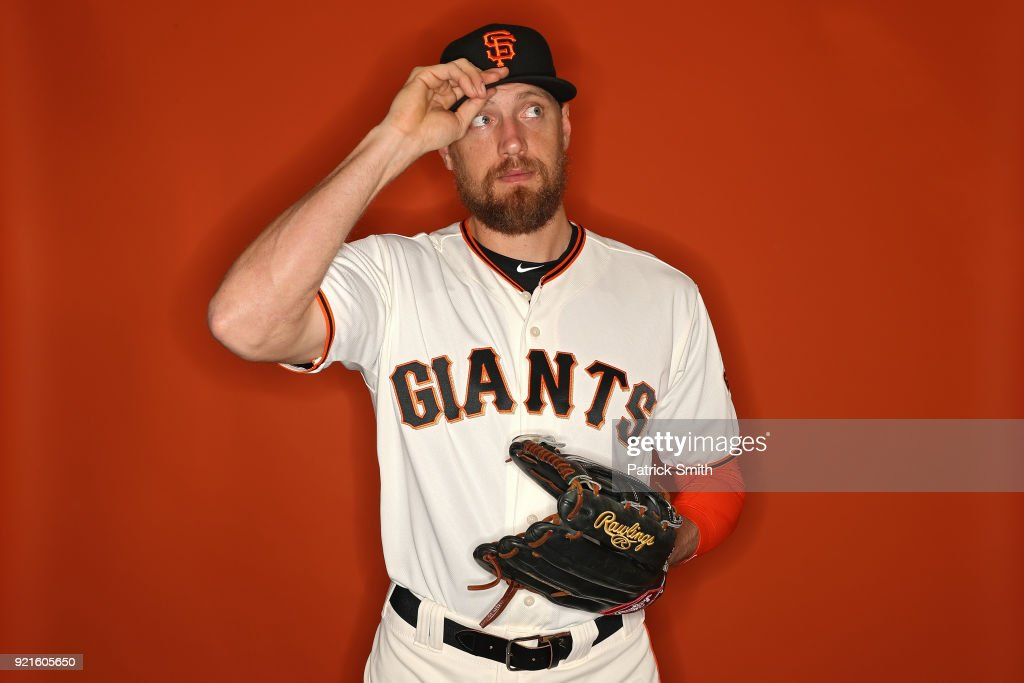 Hunter Pence #8 of the San Francisco Giants poses on photo day during MLB Spring Training at Scottsdale Stadium on February 20, 2018 in Scottsdale, Arizona.