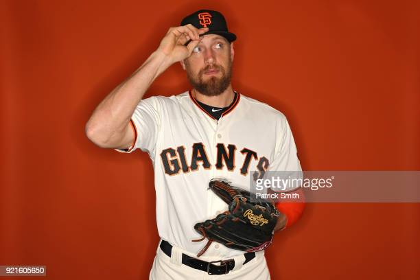 Hunter Pence of the San Francisco Giants poses on photo day during MLB Spring Training at Scottsdale Stadium on February 20, 2018 in Scottsdale,...