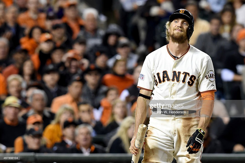 Hunter Pence #8 of the San Francisco Giants reacts after striking out in the sixth inning against the St. Louis Cardinals during Game Five of the National League Championship Series at AT&T Park on October 16, 2014 in San Francisco, California.