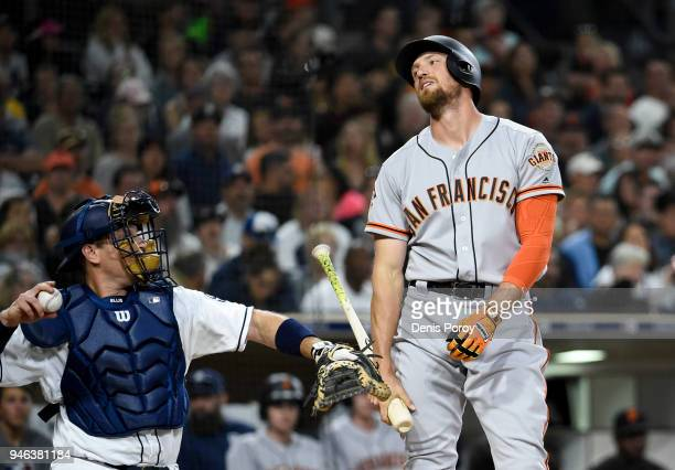 Hunter Pence of the San Francisco Giants reacts to a called strike during the eighth inning of a baseball game against the San Diego Padres at PETCO...