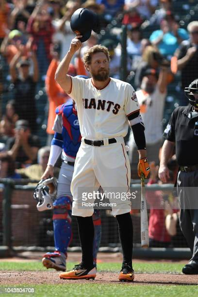 Hunter Pence of the San Francisco Giants salutes the crowd before his first at bat against the Los Angeles Dodgers during their MLB game at ATT Park...