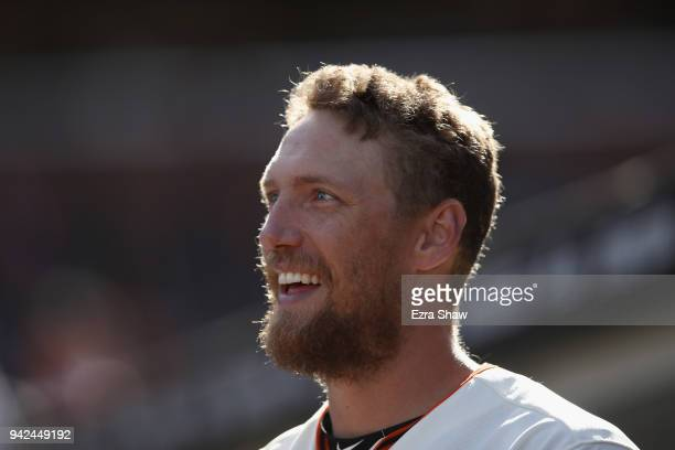Hunter Pence of the San Francisco Giants stands in the dugout during their game against the Seattle Mariners at ATT Park on April 3 2018 in San...