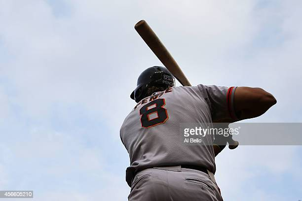 Hunter Pence of the San Francisco Giants stands on deck during Game One of the National League Division Series against the Washington Nationals at...