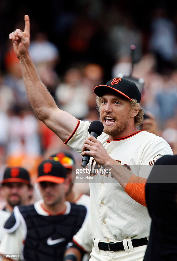 Hunter Pence #8 of the San Francisco Giants thanks the fans for a successful season after defeating the San Diego Padres 9-3 at AT&T Park on September 28, 2014 in San Francisco, California.