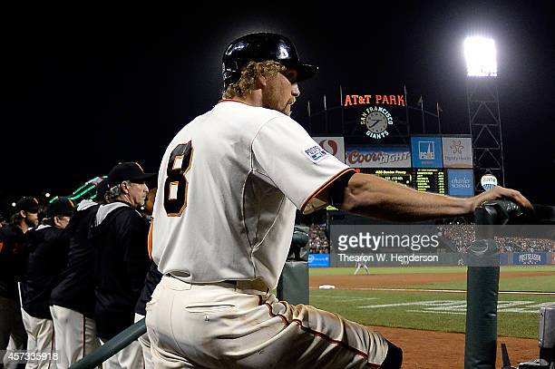 Hunter Pence of the San Francisco Giants waits to bat in the eighth inning against the St. Louis Cardinals during Game Five of the National League...