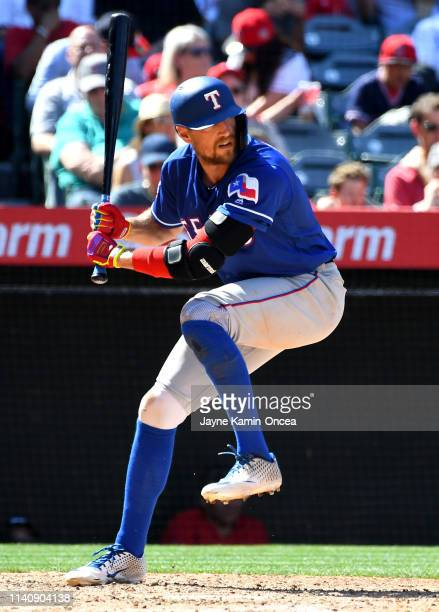Hunter Pence of the Texas Rangers at bat in the game against the Los Angeles Angels of Anaheim at Angel Stadium of Anaheim on April 6 2019 in Anaheim...