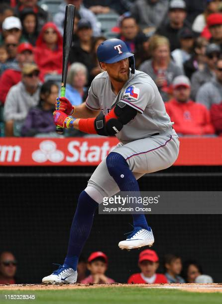 Hunter Pence of the Texas Rangers at bat in the game against the Los Angeles Angels of Anaheim at Angel Stadium of Anaheim on May 26 2019 in Anaheim...
