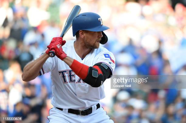 Hunter Pence of the Texas Rangers bats during the game between the Chicago Cubs and the Texas Rangers at Globe Life Park in Arlington on Thursday...