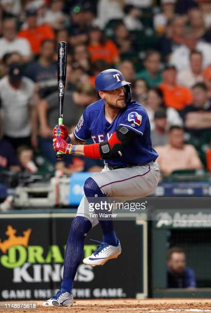 Hunter Pence of the Texas Rangers bats in the fourth inning against the Houston Astros at Minute Maid Park on May 10 2019 in Houston Texas