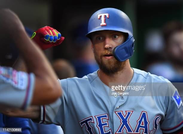 Hunter Pence of the Texas Rangers celebrates his two run home run during the fourth inning against the Pittsburgh Pirates at PNC Park on May 7 2019...