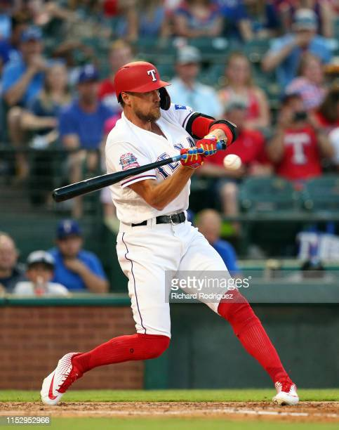 Hunter Pence of the Texas Rangers gets ready to connect for a single in the sixth inning against the Kansas City Royals at Globe Life Park in...
