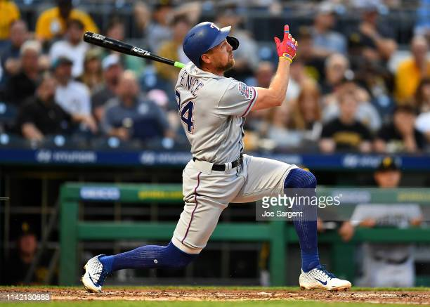 Hunter Pence of the Texas Rangers hits a two run home run during the fourth inning against the Pittsburgh Pirates at PNC Park on May 7 2019 in...
