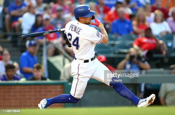 Hunter Pence of the Texas Rangers hits in the third inning against the Baltimore Orioles at Globe Life Park in Arlington on June 4 2019 in Arlington...