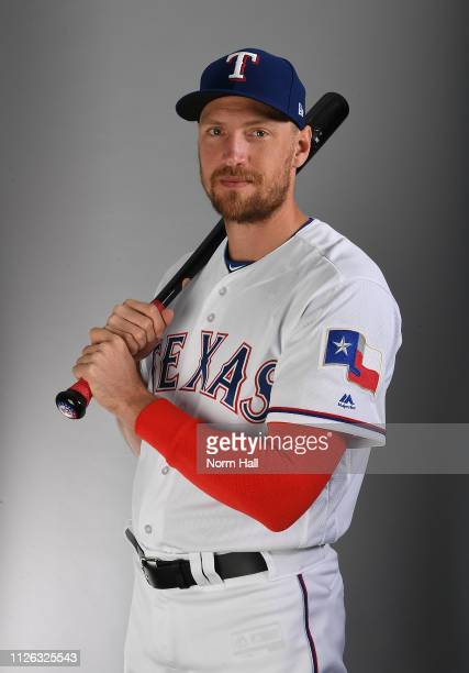 Hunter Pence of the Texas Rangers poses for a portrait on photo day at Surprise Stadium on February 20 2019 in Surprise Arizona